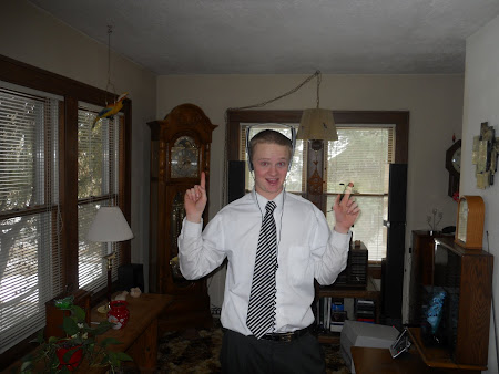 Elder Olaveson with 25 year old headphones