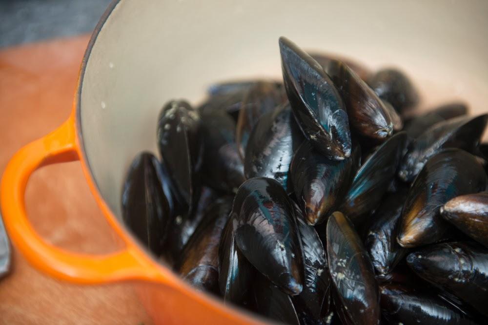 SOUNDING MY BARBARIC GULP!: Mussels with Lemon-Saffron Sauce