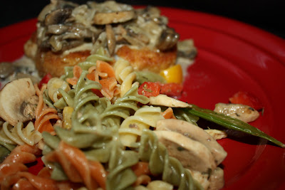 Pork Chops with Mushroom Bourbon Cream Sauce and Mushroom Pasta Salad ...