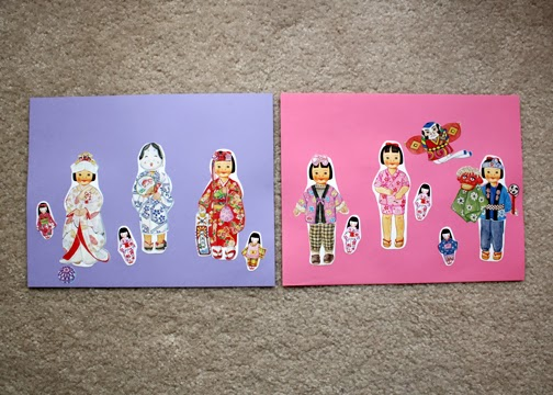 Tessa is a fan of sticker paper dolls, so little Aiko was a big hit. I made extra color copies of the doll so she could dress Aiko in all of the costumes at once.