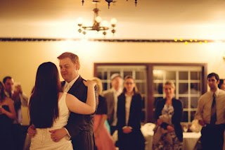 Bonnie and Joe enjoy their first dance at the Courtyard Hall in Bothell