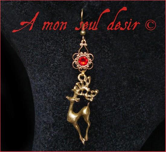 boucles d'oreilles cerf bronze biche bijouterie Baratheon deer antler earrings jewellery