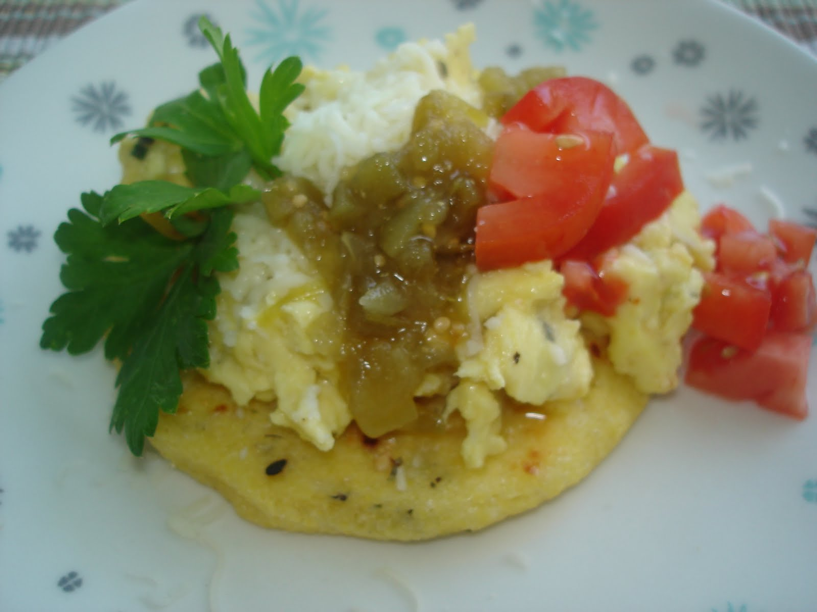 The Tiny Skillet: Brunch Arepas - with scrambled eggs and tomatillos