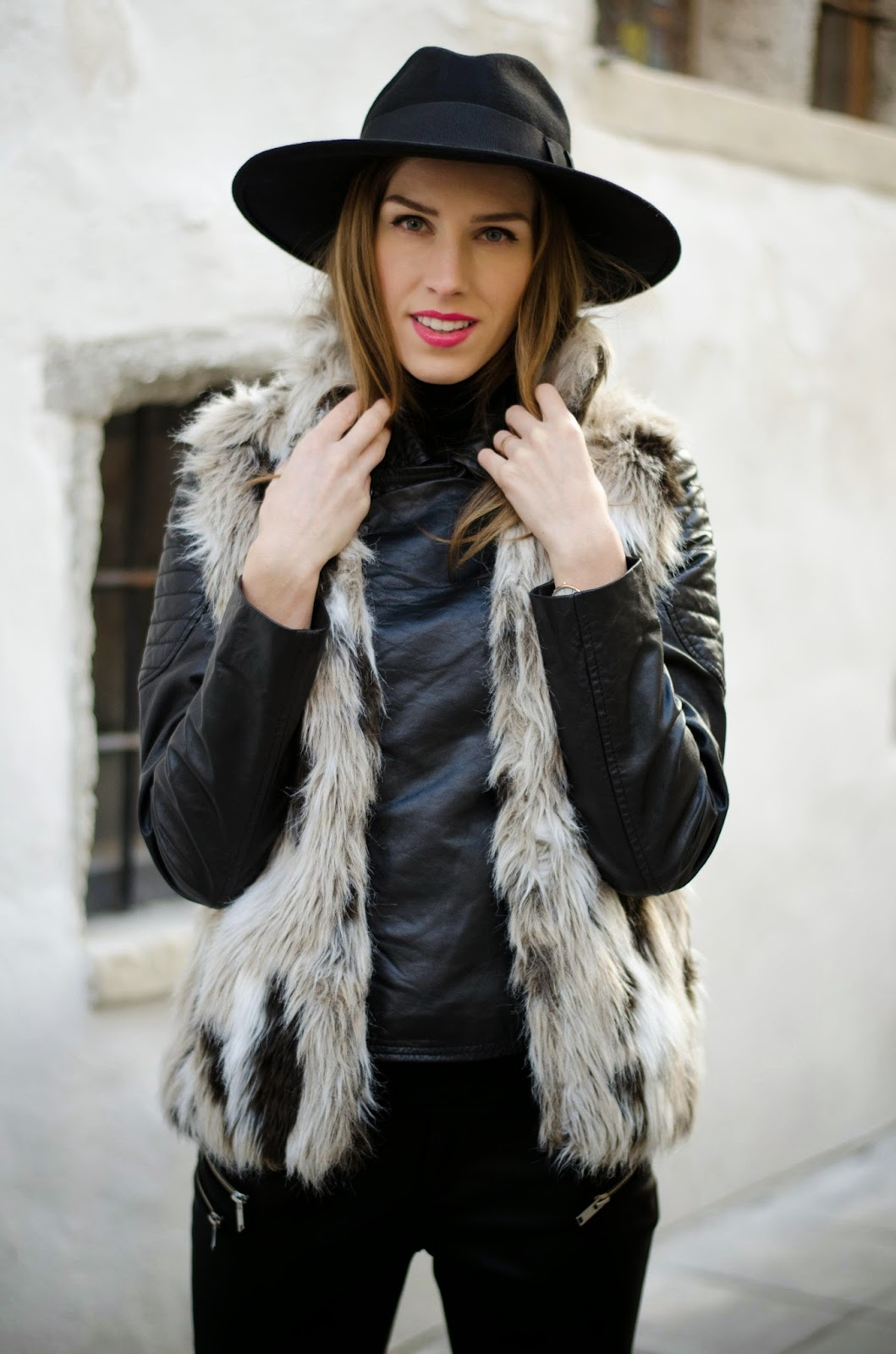 kristjaana mere catarzi black felt fedora hat barneys originals leather jacket zara faux fur vest outfit