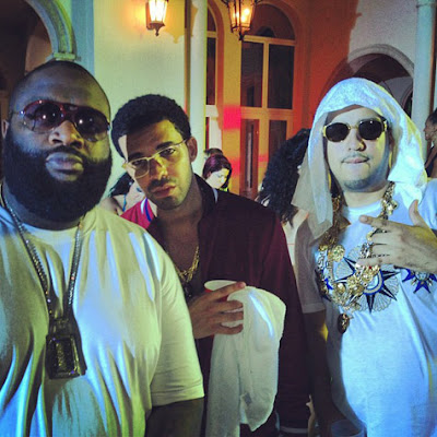 fotos french montana lil wayne rick ross fat joe drake rihanna grabando el video de pop dat