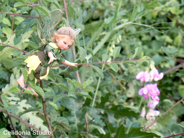 fairy and a sweet pea flower