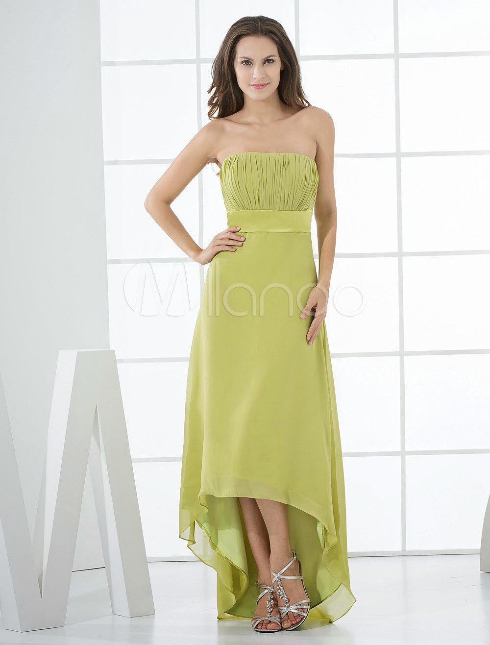 China Wholesale Dresses - Strapless Daffodil Chiffon High-Low Bridesmaid Dress