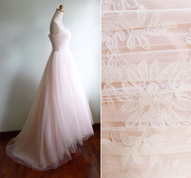 vintage 80's pastel peach lace bustier wedding gown