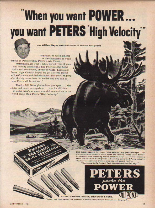 Peters Packs The Power Moose Ad 1950s