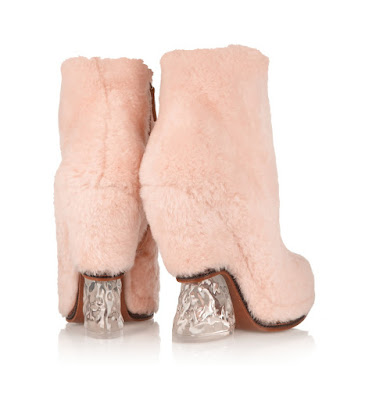 Fendi Pink fluffy shearling boots for weird shoe wednesday