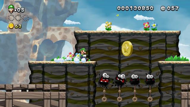 Luigi skidding in New Super Luigi U
