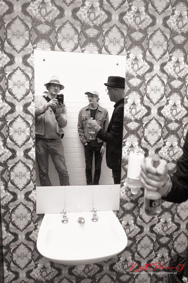 Men's style, group selfie with the photographer in the men's room, photography by Kent Johnson, Fuji X-pro1.