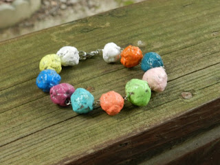 Paper Mache Rainbow Beaded Bracelet by PaperGemsbyHEMS