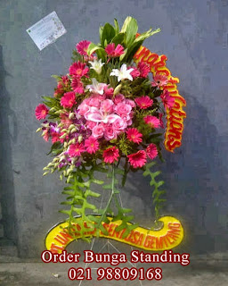 toko bunga standing flowers bagus dan murah, bunga ucapan pernikahan, bunga anniversary perusahaan