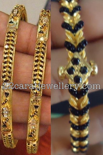 black beads bangles jewellery designs