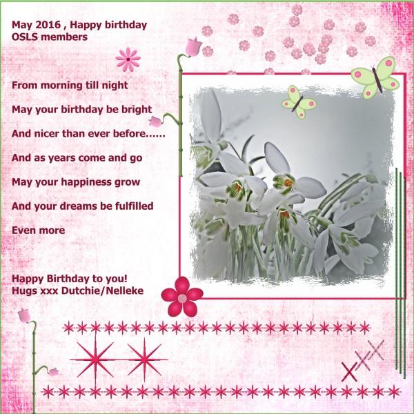May 2016 , Happy birthday OSLS members