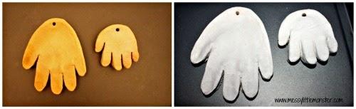 kids christmas craft - santa salt dough handprints