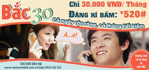 Đăng ký gói Bắc 30 gọi nội mạng Vietnamobile 1,000đ/ngày
