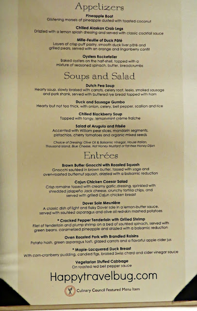 Dinner menu on a Holland America Cruise