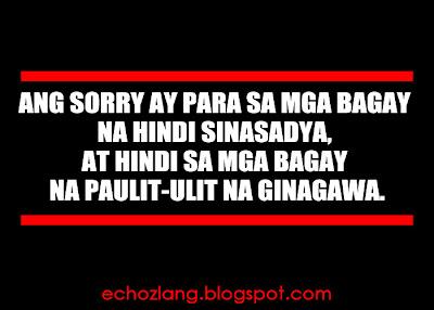 Ang sorry ay para sa mga bagay na hindi sinasadya