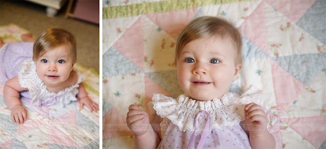 photo of a baby girl on great-grandma's quilt