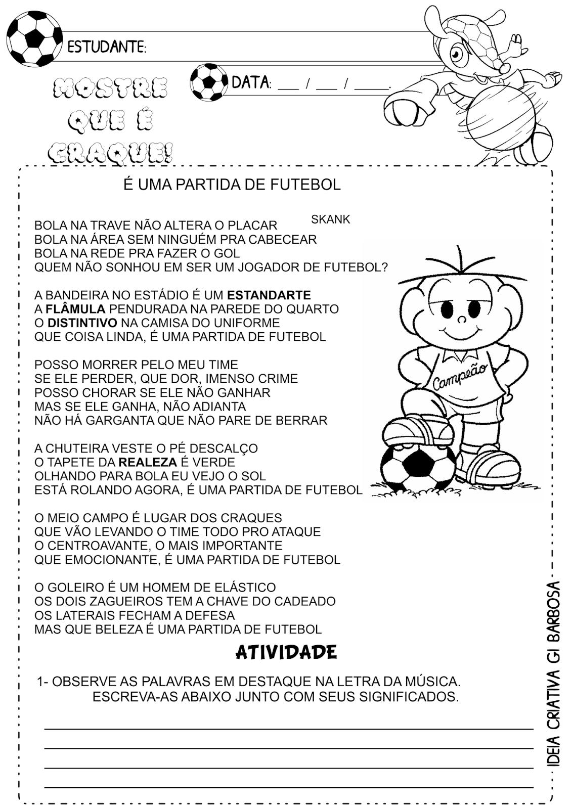 Atividade Copa do Mundo  Texto e Interpretação Música