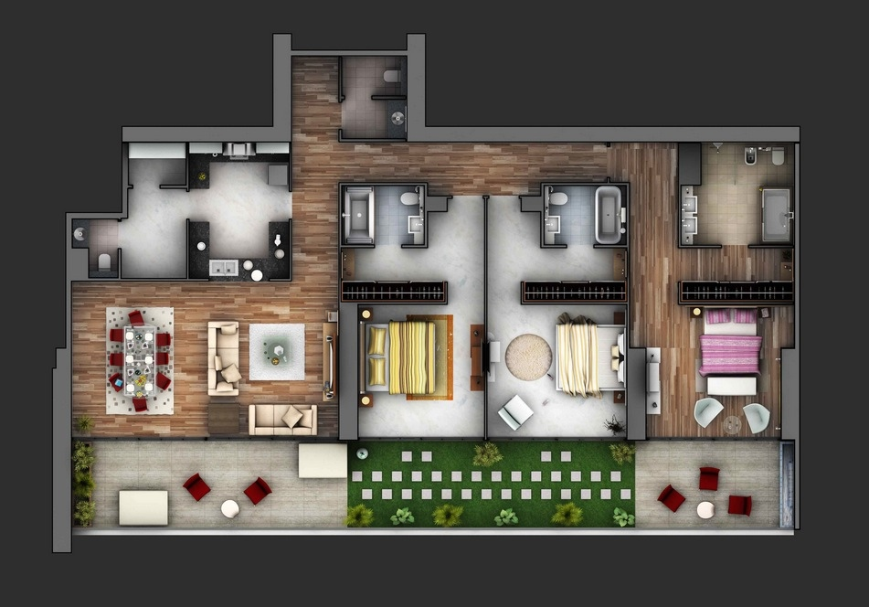 Teen Apartment Decorating D Perfect House Plans With Three Badroom
