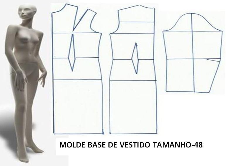 MOLDE BASE DE VESTIDO TAMANHO 48 = XL/G - Moldes Moda por Medida