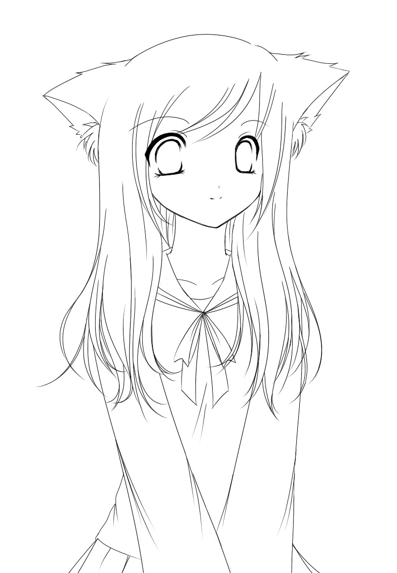 Coloring Pages Displaying 10 Images For Anime Fox Girl
