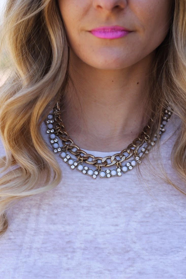 Hot Pink Lipstick with Gold Embellished Statement Necklace