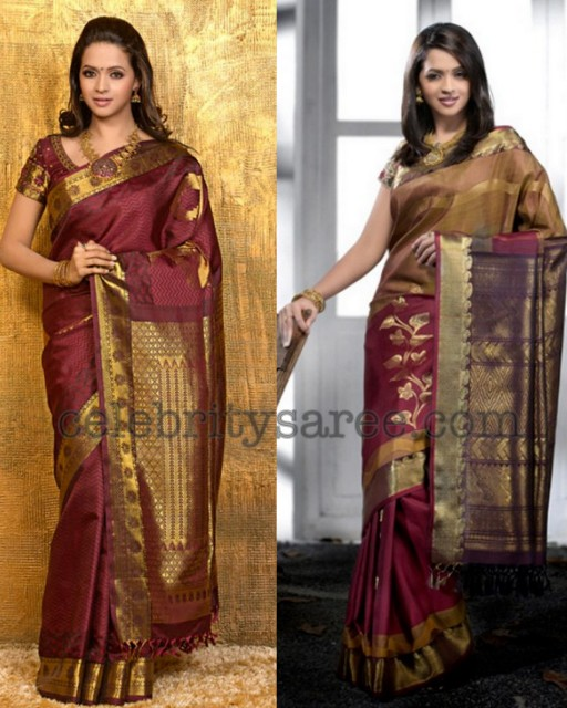 Bhavana in Maroon Silk Sarees