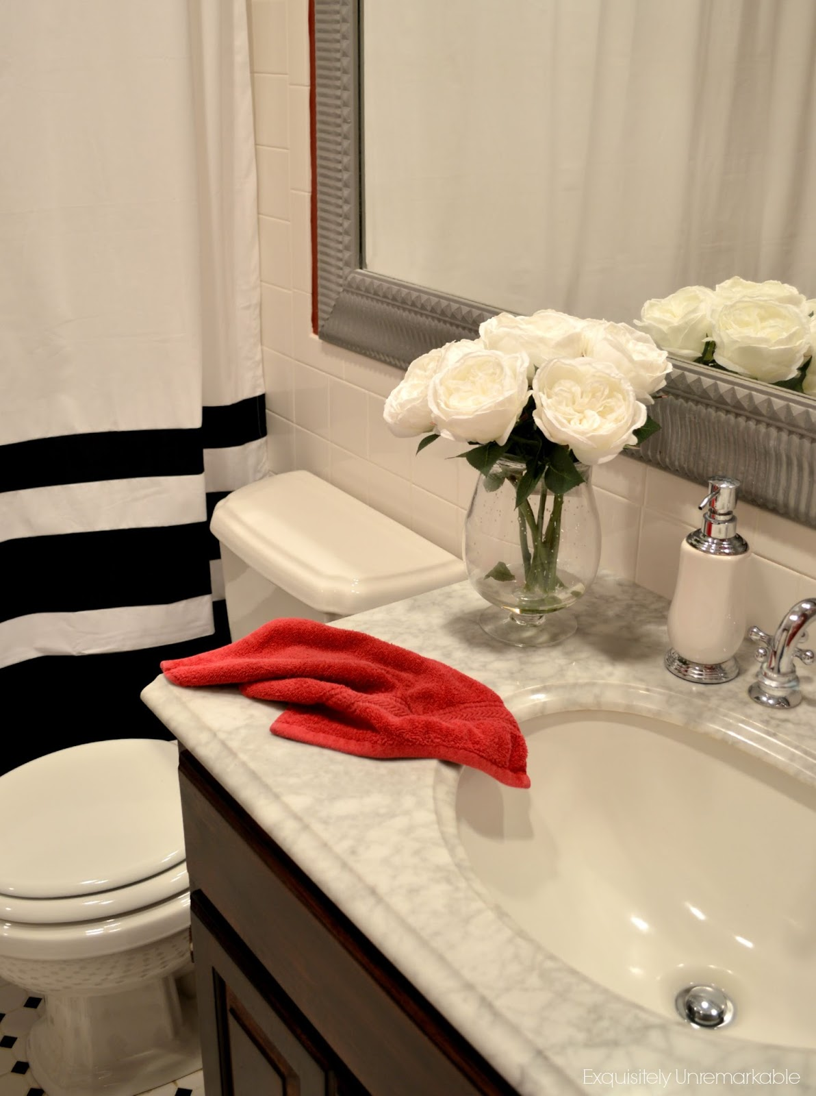 Perfect So what us black and white and red all over Well in my house it could be a lot of things but today it us my guest bath