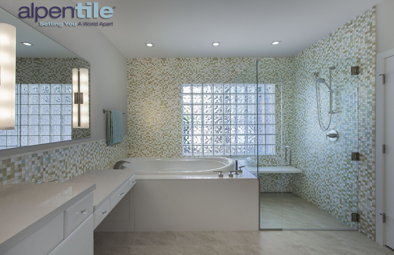 Alpentile Glass Tile Swimming Pools: Contemporary bright bathroom ...