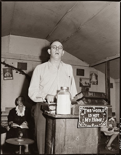Pastor Eli Sanders, at a Pentecostal Church, 1946