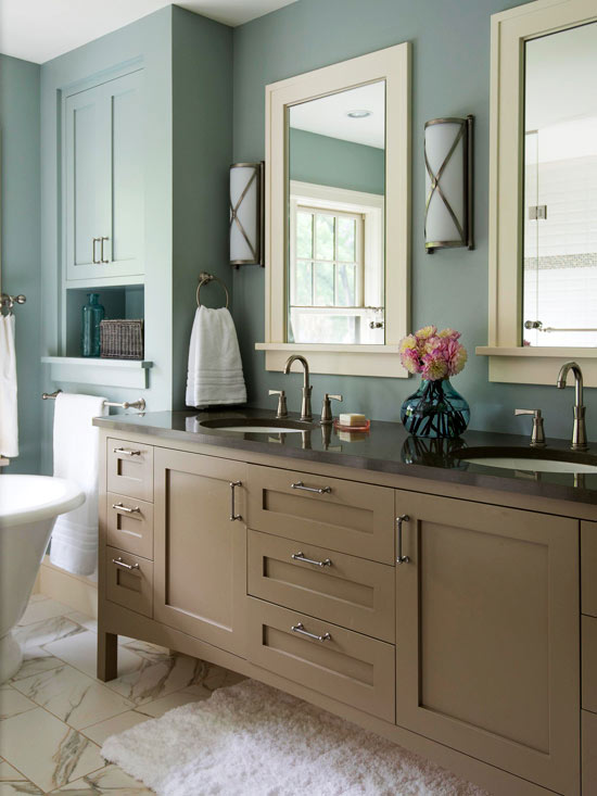 Colorful bathrooms 2013 decorating ideas color schemes for Taupe bathroom ideas
