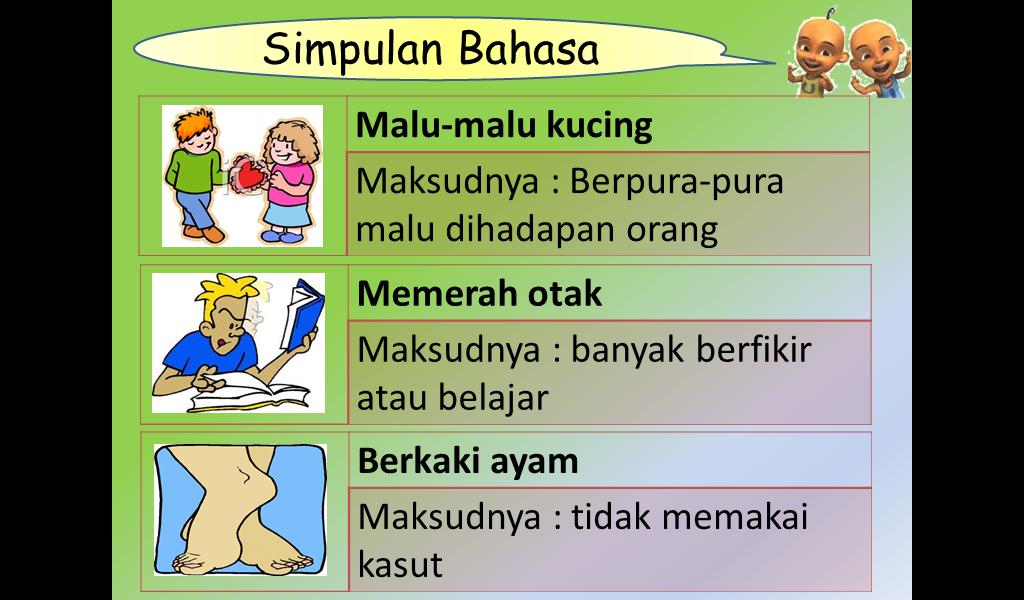 Contoh-contoh lain untuk simpulan bahasa adalah seperti di bawah: