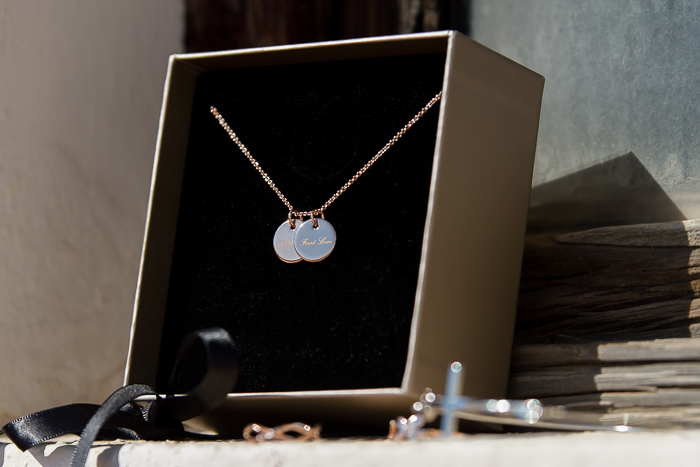 "Double Badge ""First Love"" Necklace Rose Gold Plated Golden Eight"