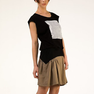 Kick Skirt in Black and Taupe