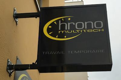 Chrono Intérim, Enseigne caisson lumineux, Multitech Boulevard Jules Verne, Nantes.