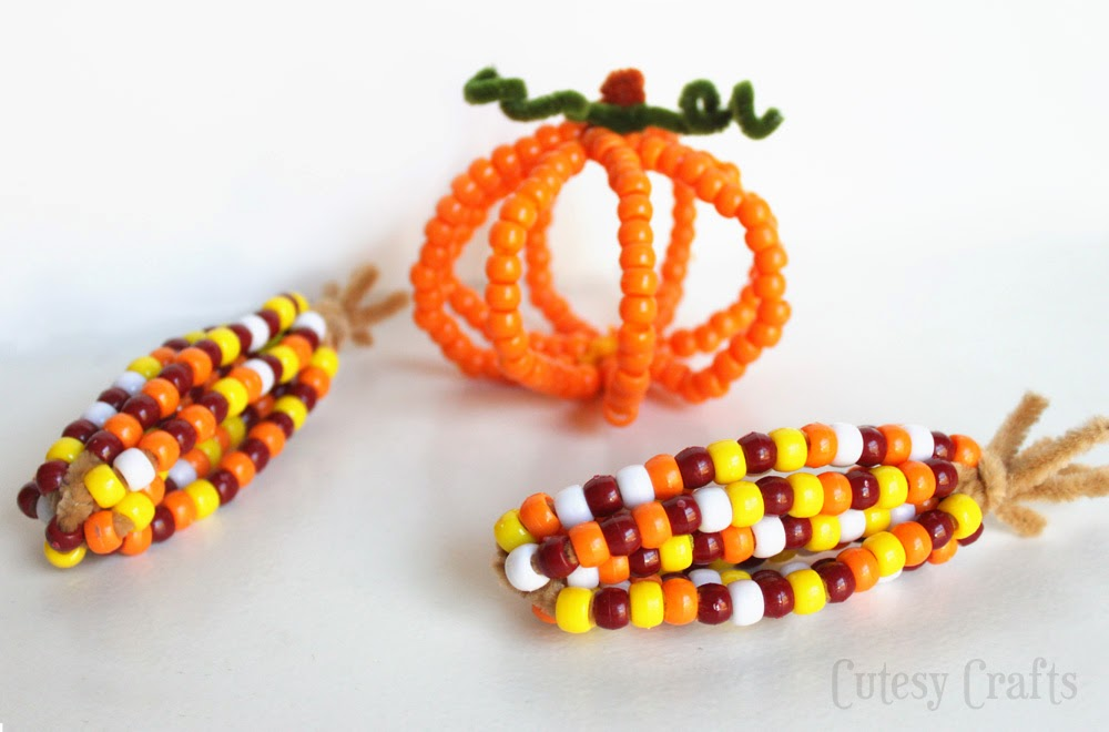 Pony bead indian corn think crafts by createforless for Bead craft ideas for kids