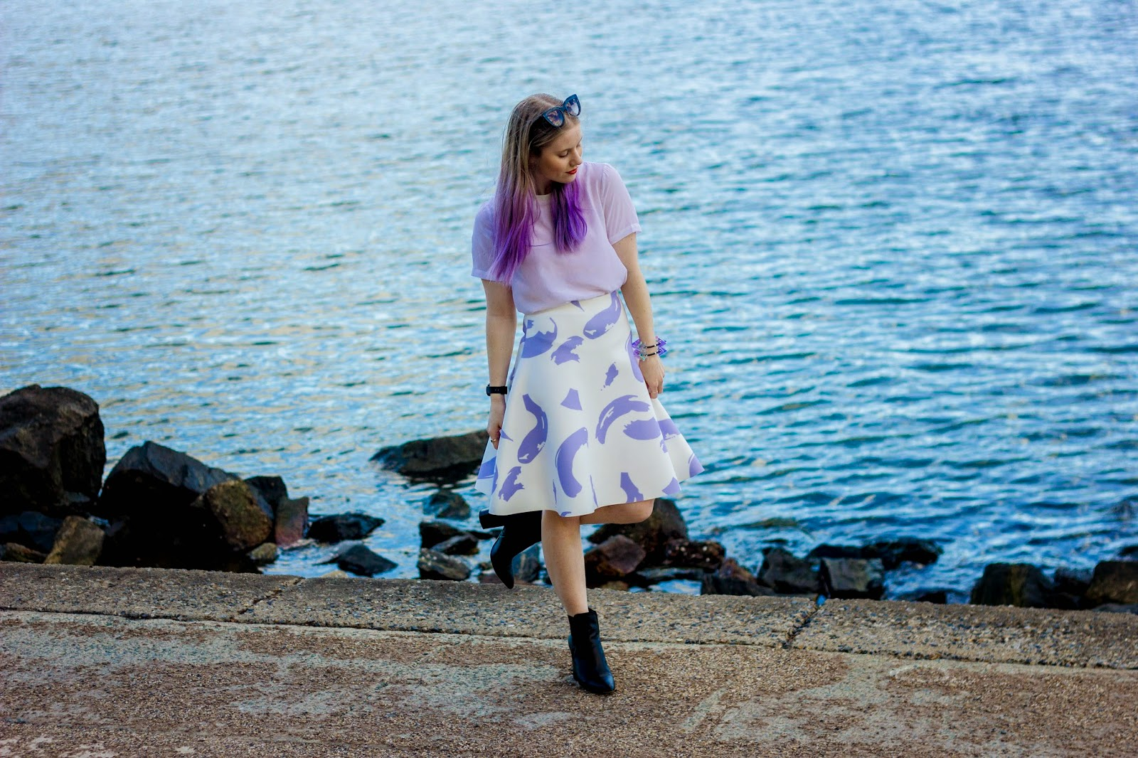 Pip O'Sullivan fashion blog, outsideiscolours, outside is colours blog, Pedestrian Blogster Awards, purple hair, dip dye, ombre hair, Ciara Clark, perspex jewellery, perspex spike bracelet, iridescent, Brisbane fashion blogger, Sheike, Celine paint strokes skirt, Sheike lilac paint strokes skirt, Glassons silk t-shirt, ASOS leather boots, black pointed toe heeled boots,