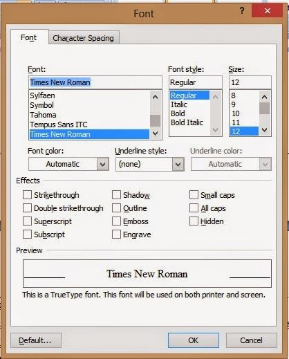 tampilan kotak dialog font