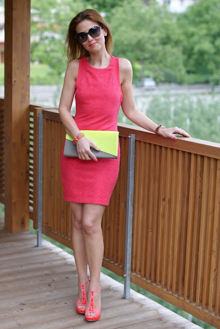 Zara coral dress, abito corallo, Loriblu shoes, scarpe Loriblu applicazioni, Fashion and Cookies, clutch Melissa