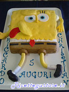 torta spongebob decorata con pasta di zucchero, torte decorate