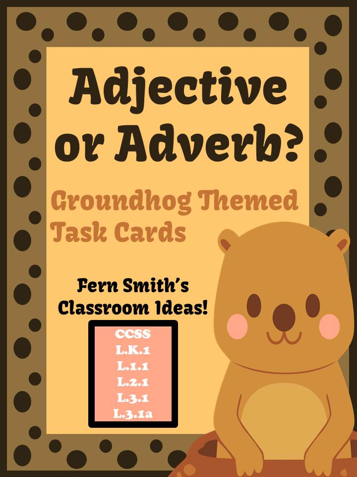 Fern Smith's FREE Adjective or Adverb Groundhog Day Themed Task Cards!