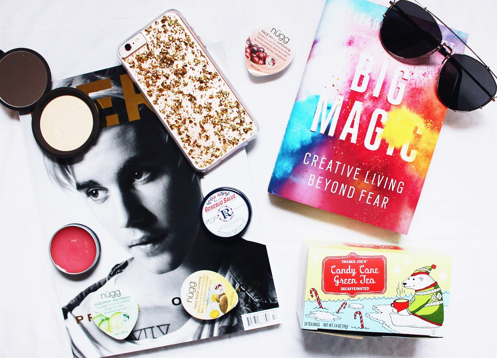 november favorites, becca highlighter, iphone 6s plus, smith's rosebud salve, justin bieber, trader joe's tea, big magic elizabeth gilbert