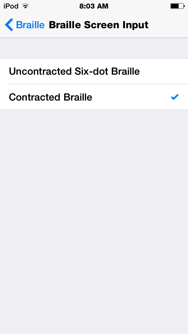 new in ios 8 built in braille keyboard for six dot input