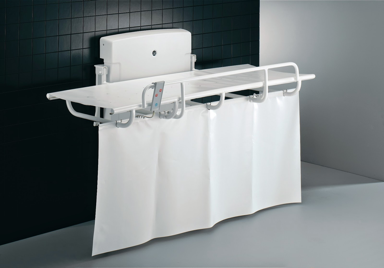 Pressalit Powered Nursing Bench with Splash Curtain