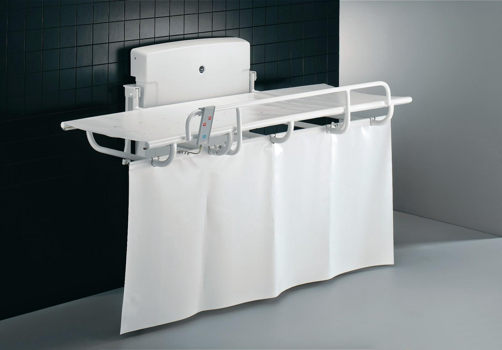 Pressalit Powered Nursing Bench with Splash Curtain