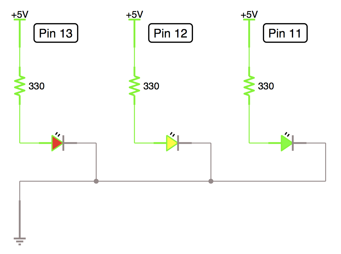 Im Not On A Break The Codes Compiling Getting Started With Led Parallel Resistor Circuit Together In As You Can See Following Image I Duplicated Pair Couple Of Times Have Red Yellow And Green Set Up